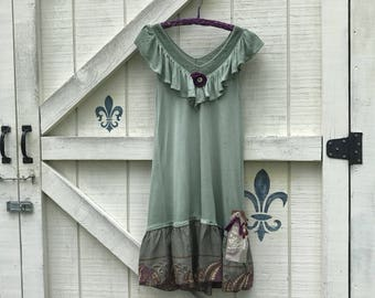 Hippie Sundress S, sage green low waisted dress, Rustic sundress, gypsy dress,