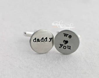 Father's Day from Kids - Hand Stamped Cuff Links - Personalized Cuff Links - Men's Cuff Links - Custom Cuff Links - Daddy Cuff Links Silver