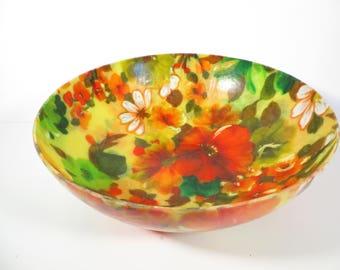 Retro Large Fiberglass Flower Bowl - Flower Fiberglass Bowl
