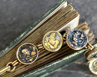 Antique Metal Picture Button Bracelet vintage jewelry recycled up cycled repurposed Victorian Cleopatra Neptune, artist painter waistcoat