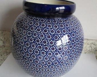 Vintage Polish Pottery Blue White Urn Vase Planter Large Pot Ceramic Boleslawiec