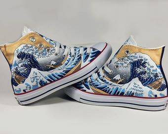 Fanart The great wave off Kaganawa, custom shoes, custom converse