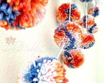 Pom Pom Garland, Sorbet Pom Poms, Party Decoration, Nursery Decor, Pom Wall Hanging, Multi Color Pom Poms, Supplies