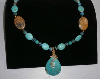 Turquoise and Picture Jasper Necklace