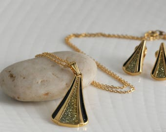 Deco Style Gold Tone Necklace and Clip On Earring Set // Vintage Estate Jewelry // Demi Parure