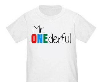 ON SALE 1st Birthday Mr Onederful First Birthday T-shirt Boy Birthday Shirt