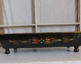 Vintage Black Metal Floral Footed Tray Bin