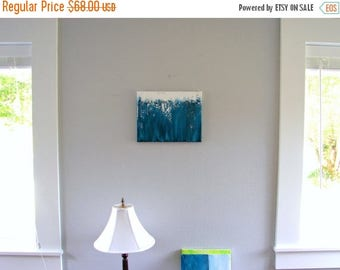 CLEARANCE Original Mixed Media Art, Abstract Textured Painting, Turquoise Teal Blue Ocean Art, Birthday for Him, Fathers Day, or Gift for He