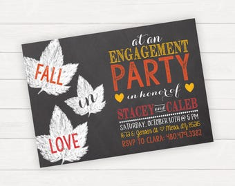 Engagement Party Invitation Engagement Party Invite Fall Engagement Party Fall Engagement Invitation Leaf Invitation Fall In Love Invitation