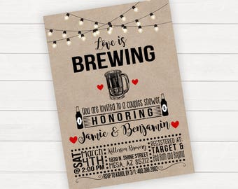 Love Is Brewing Invitation, Bridal Shower Invitation, Bridal Shower Invitation Printable, Couples Bridal Shower Invitations, Beer Bridal