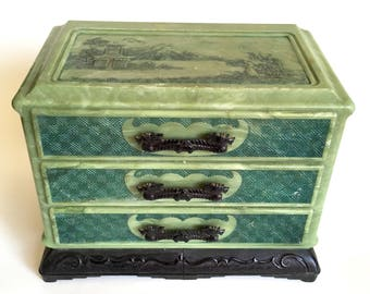 Vintage Asian Green Jewelry Trinket Box 3 Drawers Mid Century