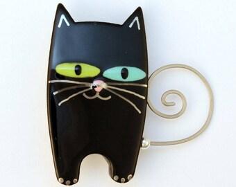 Black Cat Pin Cat Brooch Black Handmade Ceramic by Sean Brown
