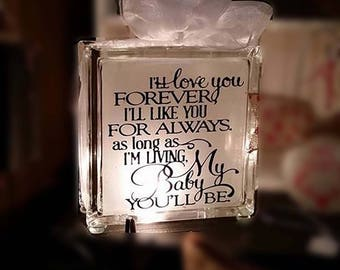 Gift for kids - I'll love you forever - baby shower gift - dorm decor - gift for my child - child gift - baby gift - baby nightlight