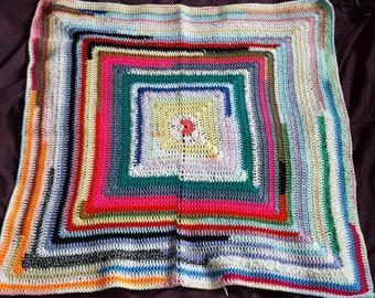 Granny square scrap afghan pet blanket