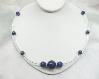 Silver Lapis Necklace Blue Lapis Choker Necklace Blue Lapis Lazuli Necklace Summer Necklace Sterling Silver Necklace BuyAny3+Get1Free