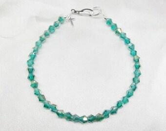Teal Bracelet Silver Cross Bracelet Crystal Bracelet Teal Blue Bracelet With Swarovski Elements Sterling Silver Bracelet BuyAny3+Get1 Free