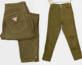 90s Guess Army Green Denim Ankle Zip High Waisted Skinny Jeans 26 x 27.5
