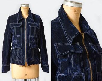 70s Velvet Disco Jacket Navy Blue Four Pocket Side Cinch Back Glam Jacket