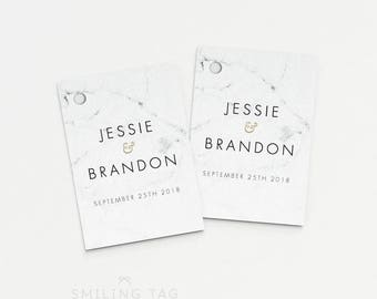 Printable Wedding Favor Tags Printable - Modern Chic Marble Wedding Bridal Shower Favors - (Item code: P459)