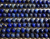 8mm Faceted Lapis Lazuli Semi-Precious Round Polished Beads, Full or Half Strand (IND1C20)