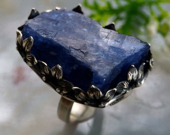 Tanzanite Ring Zoisite Blue Stone Statement Ring Sterling Silver Jewelry