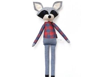 Oliver Raccoon | Plaid - Softie, plush doll, heirloom, animal doll, nursery decor, toy