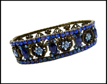 Art Deco Blue AB Rhinestone Bracelet, Aurora Borealis & Royal Blue Stretch Bracelet, Royal Blue Bracelet, Maid of Honor, Gift for Her