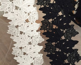 Leaf Venice Crochet Embroidery Lace Fabric Trim in Off White Black  , Trim by Yard for Costumes, Birdals