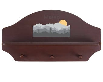 Personalized Espresso Wall Rack and Shelf with Misty Mountain Design-shel-esp-245