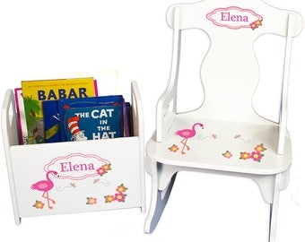 Personalized Puzzle Rocker and Book Caddy set with Pink Flamingo Design-rknrd-342