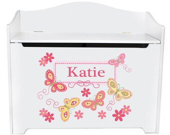 Personalized Toy Box Bench with Yellow Butterflies Design-bench-whi-300d