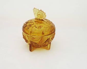 Sowerby Small Amber Glass Trinket Box, Sowerby Amber Glass Powder jar, Art Deco Amber Glass Trinket Box