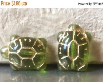 ON SALE Czech Turtle Bead 20mm X 8mm Olivine Gold Qty 2