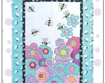 Save the Bees Wall hanging Pattern with Applique Bees and Flowers Includes Wildflower Seed Confetti.