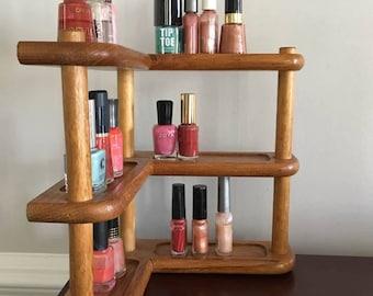 Wooden Corner Cabinet Spice Rack  / Nail Polish Rack Shelf / Pantry Corner Shelf