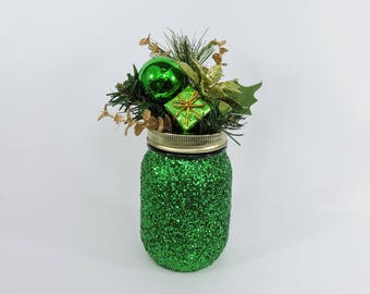 Green Glitter Mason Jar for Winter Wedding Decor, Baby Shower Decor, Graduation Party Decor, Birthday Party Decor Green Party Decor