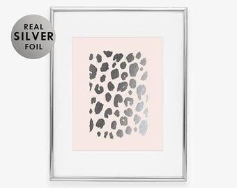 LEOPARD PRINT Silver Foil Print Tropical Fashion Art Funny Kids Sign Girls Nursery Poster Fearless Wall Art Blush Pink Art Print B3