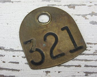 Number 321 Tag Antique Cattle Tag #321 Large Vintage Brass Tag Cow Tag Industrial Tag House Number Apartment Lucky Numbers Keychain Tag A