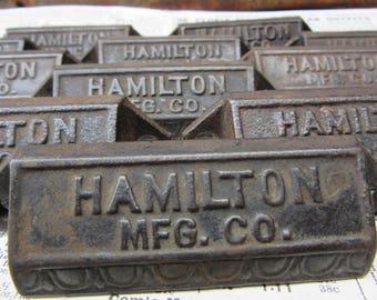 Antique Hamilton Letterpress Handles Cast Iron Pulls Printer Drawer Pull Hardware metal drawer hardware vintage industrial bin pull Cabinet