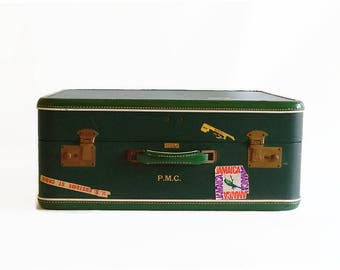vintage suitcase forest green 1950s travel luggage prop