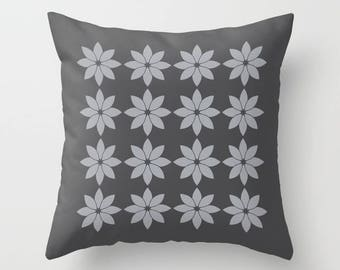 8 colours, Minimalist Flowers Pillow, Dove Grey, Charcoal Black, Modern Rustic, Nordic style, Faux Down Insert, Indoor or Outdoor cover