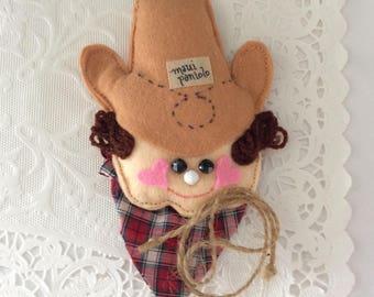 Maui Paniolo - Christmas Ornament - Kid's Room Decor -  handmade  - collectible - Cowboy decor - Vintage