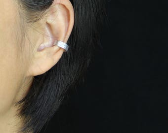 Simple sterling silver bar ear cuff handmade US free shipping Anni Designs