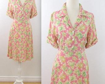 SALE April Cornell Pink Floral Dress - Vintage 1980s Pastel Summer Shirtdress in Medium