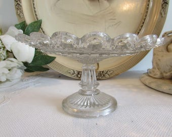 Beautiful vintage French glass compote dish.  Paris apartment, cottage chic