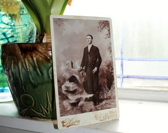 Antique Cabinet Card Photograph Handsome Young Victorian Man
