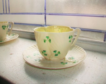 Vintage Irish Belleek Cup and Saucer Third Green Mark