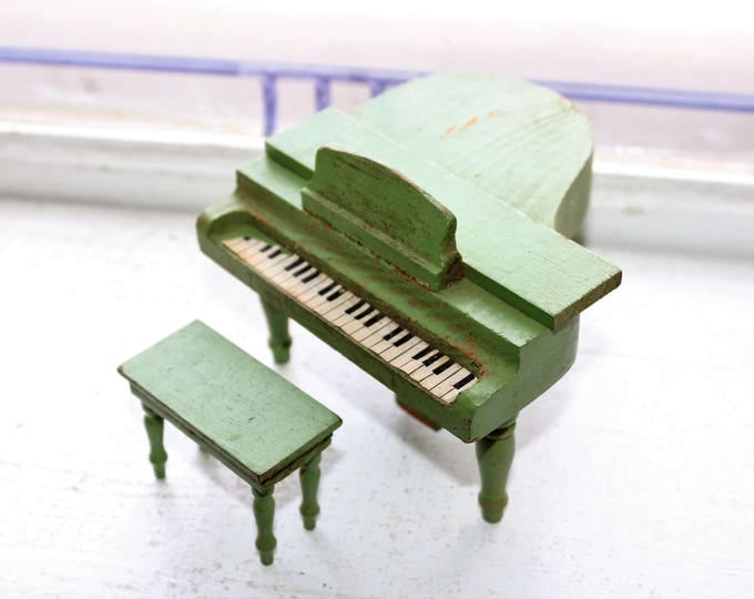 Schoenhut Wood Dollhouse Furniture Green Grand Piano and Bench 1930s