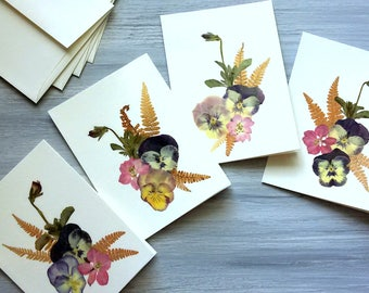 PRESSED FLOWER CARDS - Set of 4 Note Cards, Preserved Flowers and Ferns One of a Kind Note Cards, Thank You, Invitation, Announcement Cards