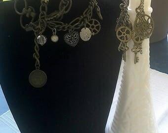 Steampunk Bracelet and Steampunk Earring Set